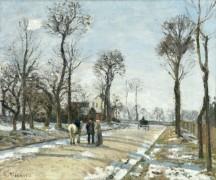 Дорога в Версаль из Лувесьена, зимнее солнце и снег - Писсарро, Камиль