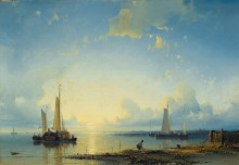 Рыболовные лодки у берега на закате - Халк, Абрахам Старший