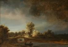 Пейзаж с каменным мостом - Рембрандт, Харменс ван Рейн
