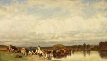 Пейзаж со стадом коров, переходящих реку - Дюпре, Жюль