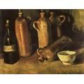Натюрморт с четырьмя бутылками, флягой и белой чашкой - Гог, Винсент ван