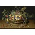 Натюрморт со сливами, виноградом и персиками в плетеной корзине - Хюльсдонк, Якоб ван