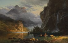 Пейзаж с индейцами, ловящими рыбу - Бирштадт, Альберт