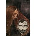 Голова мужчины в женских волосах - Мунк, Эдвард