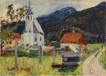 Пейзаж с кладбищенской церковью - Кандинский, Василий Васильевич