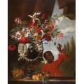 Цветочный натюрморт с оруженосцем - Брейгель, Абрахам