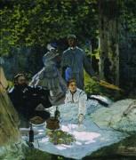 Завтрак на траве с Гюставом Курбе и Фредериком Базилем - Моне, Клод