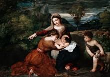 Мадонна с младенцем, святой и ребенком Иоанна Крестителя - Тициан Вечеллио