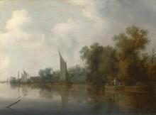Река с рыбаками - Рейсдал, Саломон ван