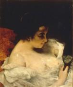 Женщина с зеркалом - Курбе, Гюстав