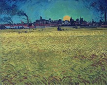 Летний вечер, закат над пшеничным полем (Summer Evening, Wheatfield with Setting sun), 1888 - Гог, Винсент ван