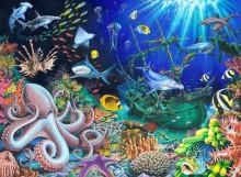 Подводный мир с затонувшим кораблем - Грегори, Марк (20 век)