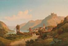 Речной пейзаж с поселком и руинами замка - Шмиц, Георг