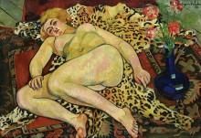 Обнаженная Катрин, лежащая на шкуре ягуара - Валадон, Сюзанна