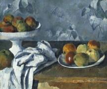 Натюрморт с полотенцем и яблоками - Сезанн, Поль