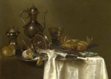 Натюрморт - оловянная посуда и серебряные сосуды -  Хеда, Виллем Клас