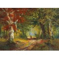 Осенний пейзаж с женщиной, собирающей хворост - Арнеггер, Алоис