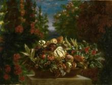 Натюрморт с цветами и фруктами - Делакруа, Эжен