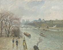 Вид на Лувр в дождливую погоду - Писсарро, Камиль