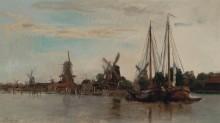Пришвартованные лодки. Голландия - Добиньи, Шарль-Франсуа
