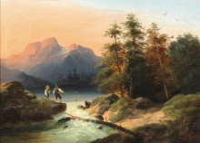 Два юных рыбака в альпийском пейзаже - Хёгер, Йозеф