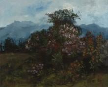 Горный пейзаж с цветущим кустом - Курбе, Гюстав