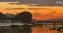 Речной пейзаж с мостом - Добиньи, Шарль-Франсуа