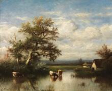 Пейзаж с коровами у пруда - Дюпре, Жюль