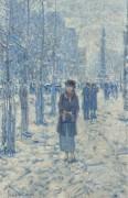 Прогулка Китти по снегу, 1918 - Хассам, Фредерик Чайлд