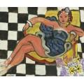 Танцовщица в кресле, клетчатый пол - Матисс, Анри