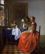 Дама и два кавалера - Вермеер, Ян