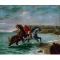 Лошади, выходящие из воды - Делакруа, Эжен