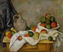 Скатерть, кувшин и тарелка с фруктами - Сезанн, Поль