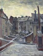 Задворки старых домов в заснеженном Антверпене (Backyards of Old Houses in Antwerp in the Snow), 1885 - Гог, Винсент ван