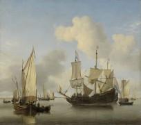 Корабли на якоре близ берега - Велде, Виллем ван де (Младший)
