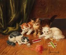 Играющие котята - Брюнель де Нёвиль, Альфред-Артюр