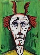 Клоун на зеленом фоне - Бюффе, Бернар