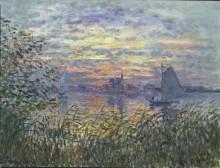 Речной пейзаж на закате дня - Моне, Клод