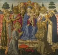 Богоматерь с Младенцем на престоле среди ангелов и святых - Гоццоли, Беноццо