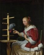 Женщина в красной куртке кормящая  попугая - Мирис, Франц ван (старший)