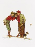Два старика с собакой на охоте - Роквелл, Норман