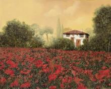 Маковое поле у дома - Борелли, Гвидо (20 век)