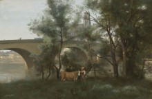 Мант, берег Сены и мост - Коро, Жан-Батист Камиль
