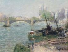 Пейзаж с видом на Мост Сюлли и Собор Парижской Богоматери - Луазо, Гюстав