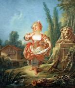 Девочка с птичьей клеткой - Буше, Франсуа
