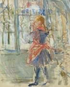 Девочка в красном переднике, 1886 - Моризо, Берта