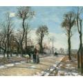 Дорога в Лувизьенне, зимний солнечный свет и снег,  1870 - Писсарро, Камиль