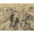 Девушка, ведущая стадо коров по дороге - Писсарро, Камиль