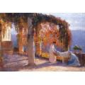 Беседка осенью с двумя женщинами и козой, 1915 - Мартен, Анри Жан Гийом