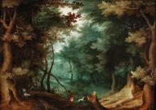 Лесной пейзаж с охотниками - Брейгель, Ян (Старший)